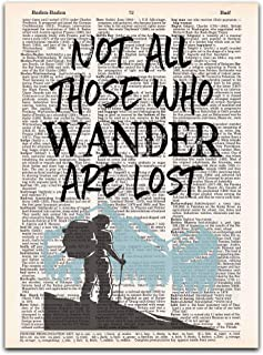 Not All Those Who Wander are Lost, Wall Art on Vintage Dictionary Page