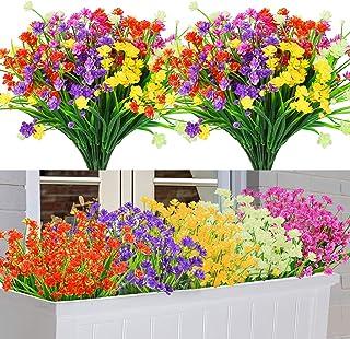 Lot de 10 Fleurs Artificielles Deco, 5 Couleurs Résistant aux UV Bouquets de Fleurs Artificielles Extérieur Intérieur, Pla...