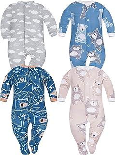Sibinulo Niño Niña Pijama Bebé Pelele de ABS -Tamaños 80-92 - Pack de 4