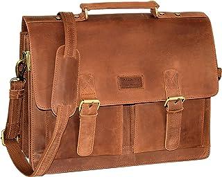Menzo Aktentasche aus echten Leder, Laptoptasche bis zu 15 Zoll, Vintage Umhängetasche, Messenger Bag für Damen und Herren, Ideal für Schule, Uni oder Arbeit braun