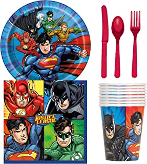 Unique Industries Justice League Birthday Party Supplies Snack Pack for 8 Guests Including Dessert Plates, Beverage Napkin...