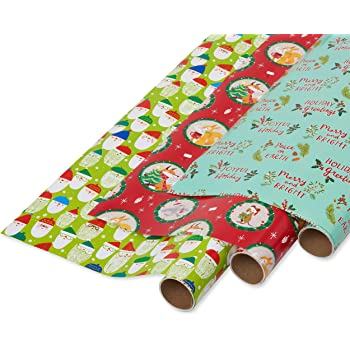 Papyrus Christmas Wrapping Paper Rolls, Festive Animals, Santa and Holiday Greetings (3 Pack)