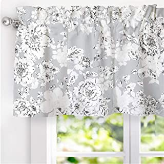 DriftAway Floral Pencil Sketch Lined Thermal Insulated Energy Saving Window Curtain Valance for Living Room Bedroom Kitchen 2 Layer Rod Pocket 52 Inch 18 Inch Plus 2 Inch Header Gray Soft White