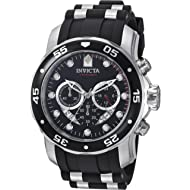 dcd45eb454a Invicta Men s 6977 Pro Diver Collection Chronograph Black Dial Black  Polyurethane Watch