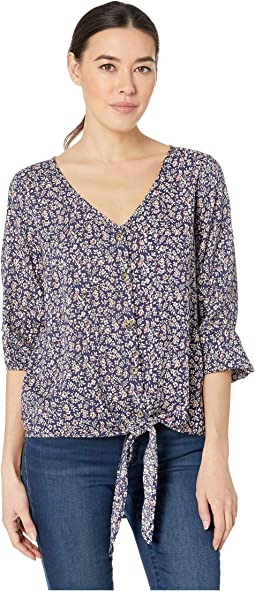 3/4 Sleeve Tie Button Front Tee in Rayon Challis Print