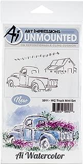Art Impressions 5011 Truck Mini Watercolor Cling Rubber Stamps, Multicolor