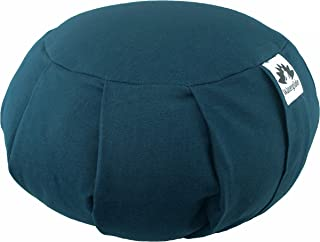 Waterglider International Zafu Yoga Meditation Pillow with USA Buckwheat Hull Fill,  Certified Organic Cotton- 6 Colors