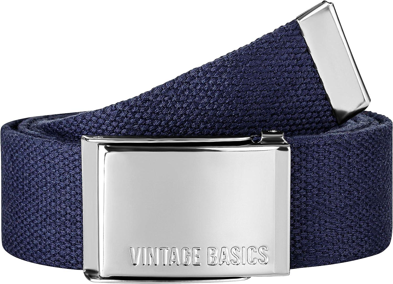 3,8 cm de ancho para hombre y mujer VINTAGE BASICS Cintur/ón de tela unisex de 130 cm de largo ajustable hebilla de metal.