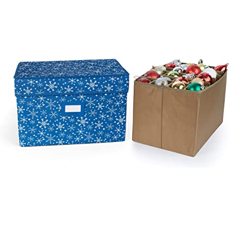 Carrying Handles Up to 96 Standard Compartments Holiday Storage Red Snowflake Covermates Keepsakes Adjustable Ornament Storage Bag Padded Protection
