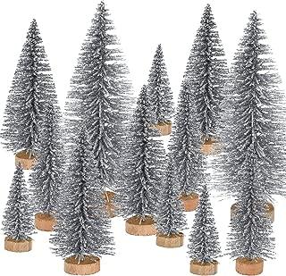 Pangda 42 Pieces Mini Christmas Tree Artificial Sisal Tabletop Sisal with Wood Base for Christmas Decoration, 4 Sizes (Silver)