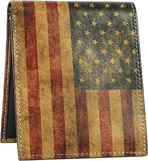 mens leather american flag wallet