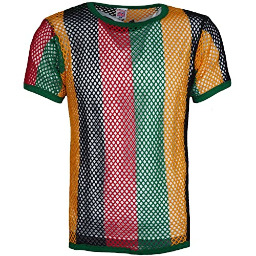 889c8101f07 Men s Fishnet Club wear 100% Cotton String Mesh Short Sleeve T-Shirt White