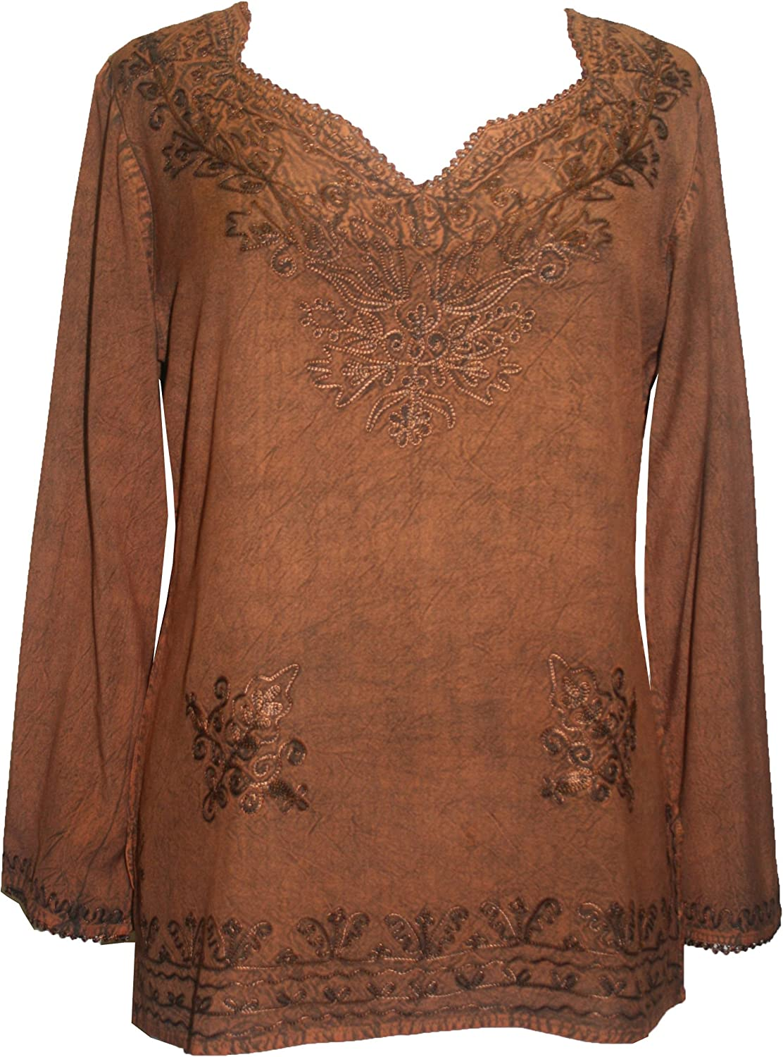Agan Traders 720 B Womens Bohemian Medieval Gypsy Embroidered Top Blouse Tunic