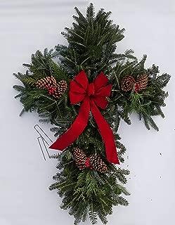 Fresh Natural Christmas Grave Cross