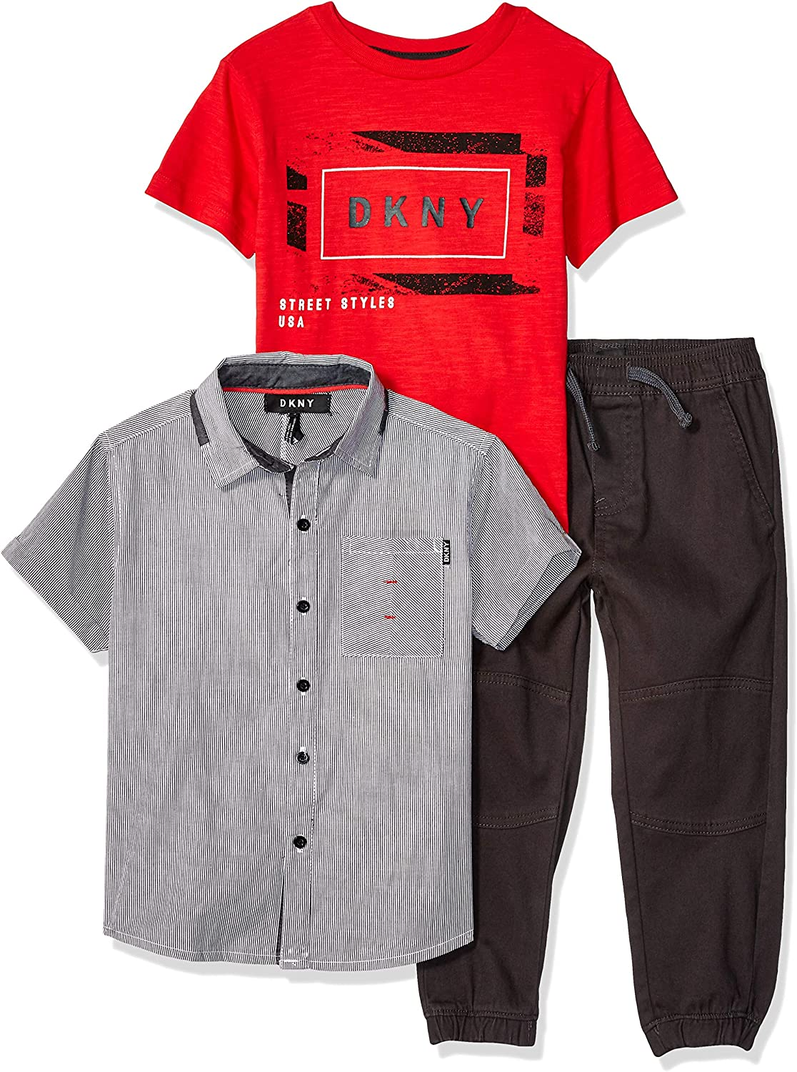T-Shirt DKNY Boys Little Short Sleeve Woven and Pull-on Pant