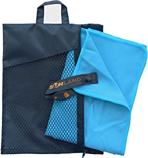 sunland Microfiber Travel Towel Fast Drying Ultra Compact Sports Sweat Outdoor Towel with Carry Bag Set (Light Blue, 1pc 32Inchx60Inch Towel+1pc 16Inchx32Inch Towel)