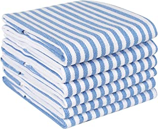 Quick Dry Kitchen Towels & Dishcloth, Highly Absorbent & Quick Dry, Professional Grade Cotton Tea Towels for Everyday Cooking and Baking - French Vintage Stripes - 6 Pack - 18x28 - Sky Blue