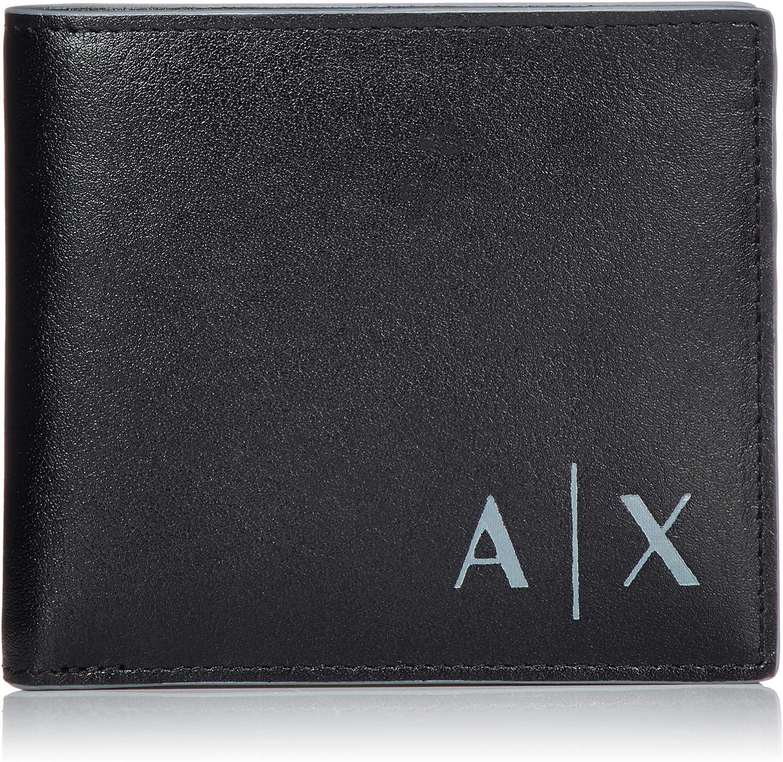 Armani Exchange Logo Credit Card, Billetera con dos pliegues para Hombre