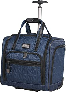 Underseat Luggage Collection - Small Lightweight 15 Inch Under Seat Bag - Briefcase for Women - Carry On Suitcase with 2- Rolling Spinner Wheels (Navy)