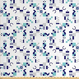 Ambesonne Mid Century Fabric by The Yard, Art Deco Inspired Pattern from Seventies with Geometrical Shapes, Decorative Fabric for Upholstery and Home Accents, 1 Yard, Turquoise Blue