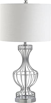 "Jonathan Y 28"" Metal Wire Frame LED Table Lamp, Chrome, Modern, Bulb Included"