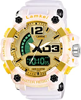 Lamkei LAM-1271 Yellow Dial White Transparent Silicone Strap Analogue Digital Multifunction Watch for Men
