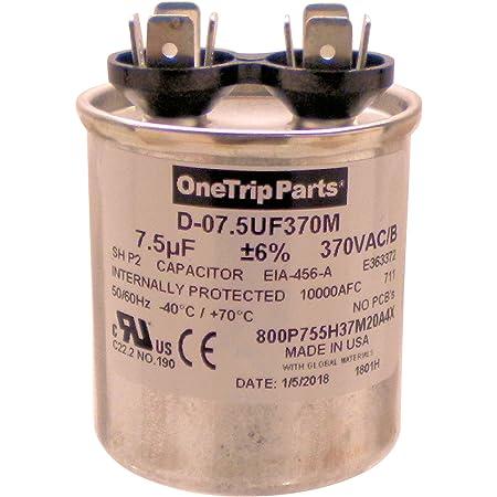 Made CAPACITOR OVAL 7.5 uF MFD 370 VOLT VAC U.S.A
