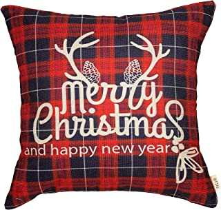 Fjfz Merry Christmas and Happy New Year Red Buffalo Plaid Deer Antler Holiday Décor Winter Decoration Cotton Linen Home Decorative Throw Pillow Case Cushion Cover for Sofa Couch, 18