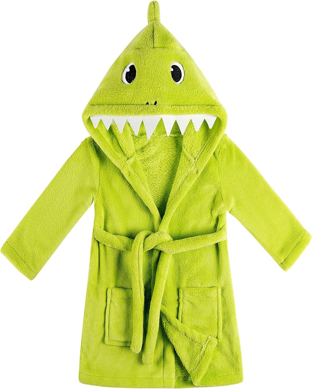 Kids Boys Girls Shark Soft Hooded Bathrobe Toddler Robe with Animal Hood