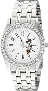 DISNEY Women's Mickey Mouse Analog-Quartz Watch with Stainless-Steel Strap, Silver, 20 (Model: WDS000383)