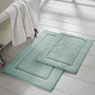 Amrapur Overseas 2-Pack Solid Loop with non-slip backing Bath Mat Set (17-inch by 24-inch/21-inch by 34-inch), Spa Blue
