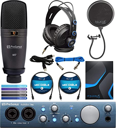 PreSonus AudioBox iTwo USB 2.0 Audio Interface Recording Kit Bundle with Studio One Artist, Capture Duo Software, Blucoil 2-Pack MIDI Cables, Pop Filter Windscreen, and 5-Pack of Reusable Cable Ties