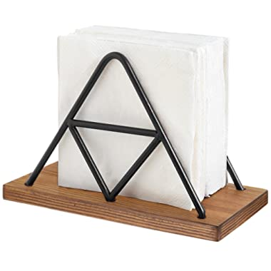 MyGift Modern Triangle Wire & Wood Napkin Holder