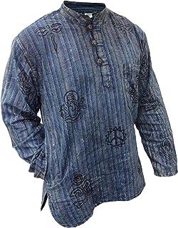 3dfa675f584 SHOPOHOLIC FASHION Unisex Stonewashed Striped Light Weight Hippy Grandad  Shirt