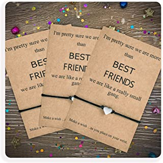 Tarsus Best Friend BFF Bestfriend 3 Friendship Heart Charm Bracelet Set for Women Sibling Girls