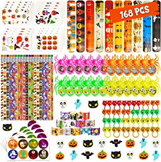 168 Pcs Halloween Party Favor Toy Bulk, 24 Pack Halloween Stationery Set, Halloween Themed Pencil, Tattoo, Spider for Kids...