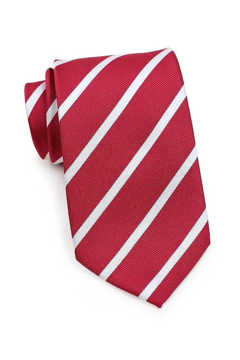 Bows-N-Ties Men's Necktie Classic Repp Stripe Microfiber Matte Tie 3.25 Inches