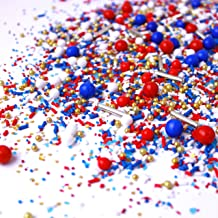 Old Glory II Sprinkles Mix   4th of July   Independence Day   Patriotic Stars   Red  White  Blue  Silver Metallics  Summer Sprinkles, 2OZ (sample size)