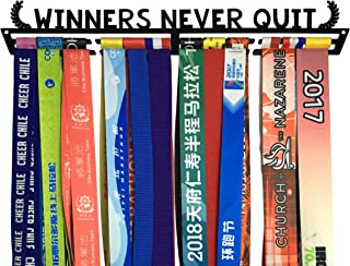 Crownyard Medal Holder - Winners Never Quit Medal Display Rack | Medal Hanger for Marathon Race Runners, Triathlon, Gymnastics Or Other Sports
