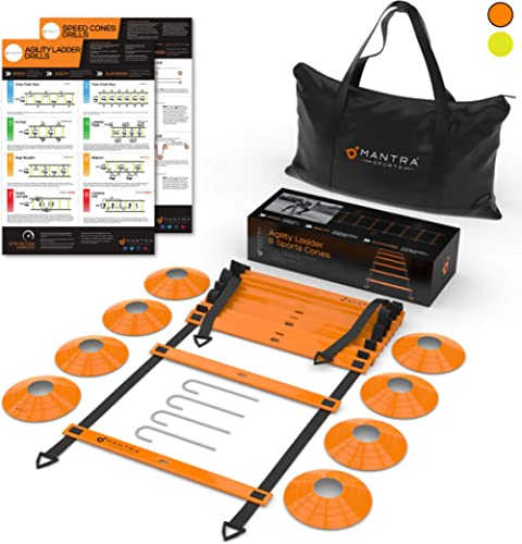 20ft Agility Ladder & Speed Cones Training Set - Exercise Workout Equipment To Boost Fitness & Increase Quick Footwor...