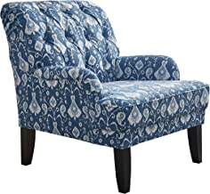 LYLE Upholstered Button Tufted Fabric Leisure Living Room Accent Chair with Armrest and Bonus Soft Seat Cushion, Blue