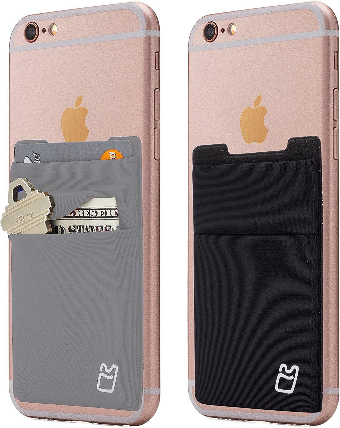 (Two) Stretchy Cell Phone Stick on Wallet Card Holder Phone Pocket for iPhone, Android and All Smartphones. (Grey&Black)