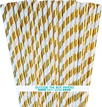 Holiday Gold Foil Paper Straws - Striped - 7.75 Inches - 100 Pack - Outside the Box Papers Brand