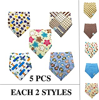 PACCOMFET FUNPET 5 Pcs Dog Bandana Triangle Bibs Scarfs Accessories for Pet Cats and Baby Puppies with Buttons