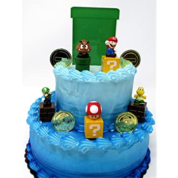 Sensational Super Mario Brothers Game Scene Birthay Cake Topper Featuring 2 Funny Birthday Cards Online Alyptdamsfinfo