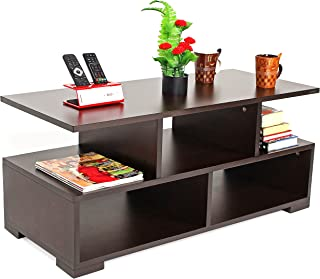 BLUEWUD Victor Engineered Wood Coffee Table/Centre Table with Shelves (Wenge)