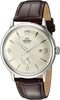 Orient Men's 'Bambino Small Seconds' Japanese Automatic Stainless Steel and Leather Dress Watch