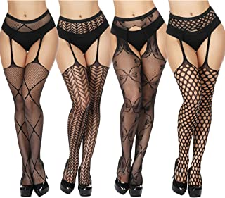 d9179ad5a TGD Women's Fishnet Stockings Tights Sexy Suspender Pantyhose Thigh High Stocking  Black 4Pairs