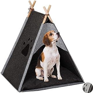 Relaxdays hundtält, stor husdjurstipi för hundar och katter, filt och trä, med kudde, 70,5 x 59,5 x 59 cm, mörkgrå, 1 st.