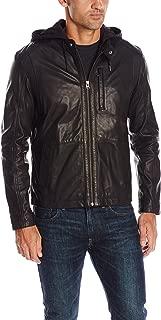 Men's Matte Lamb Moto Jacket with Removable Jersey Knit Hood